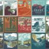 まるで古い切手のよう。アメリカの国立公園をモチーフにしたヴィンテージ風Tシャツ